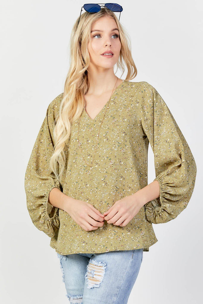 Sage Floral Bubble Sleeve Top
