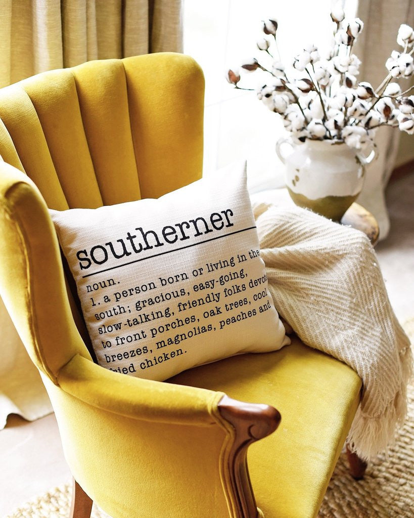Southerner Definition Accent Pillow in yellow chair