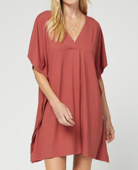 Solid V Neck Tunic / Dress