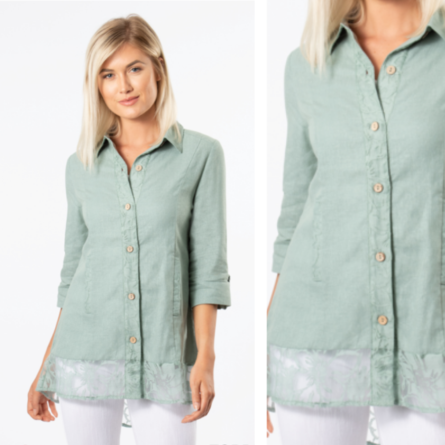 Simply Noelle Island Breeze Lace Button Down Top