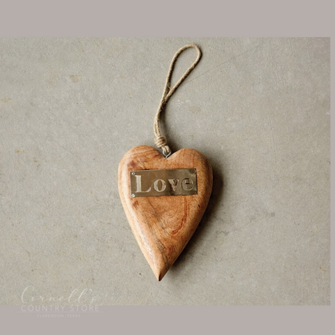 "Mango Wood Hanging Heart w/ Metal ""Love"" 