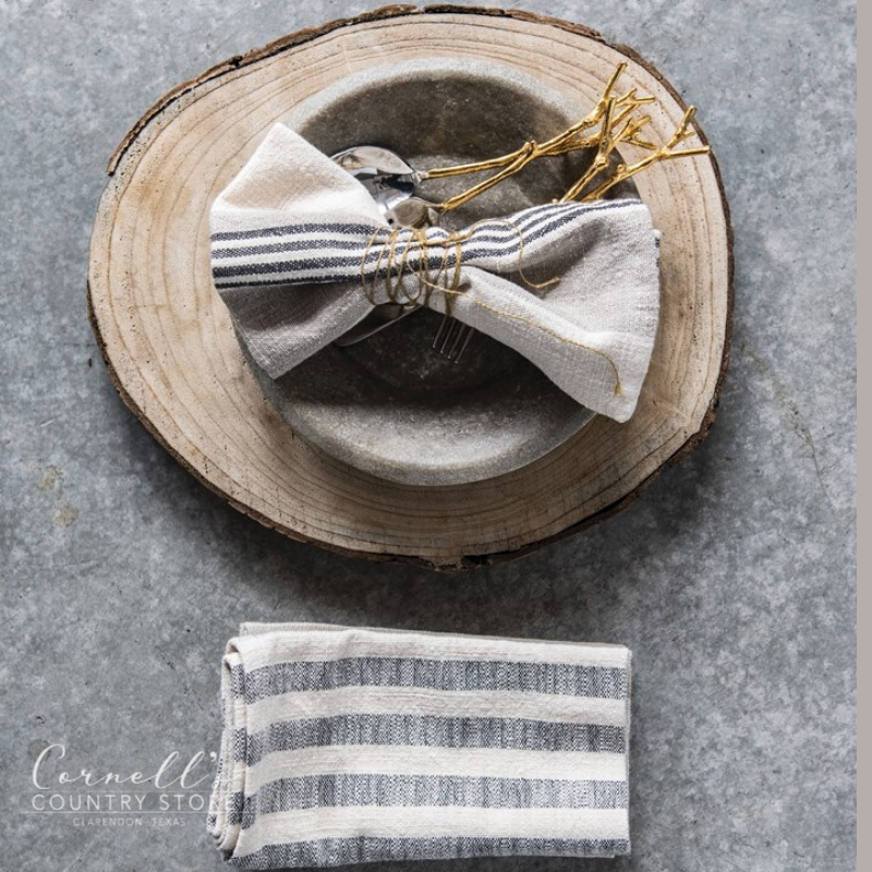 "18"" Square Woven Cotton Striped Napkins"