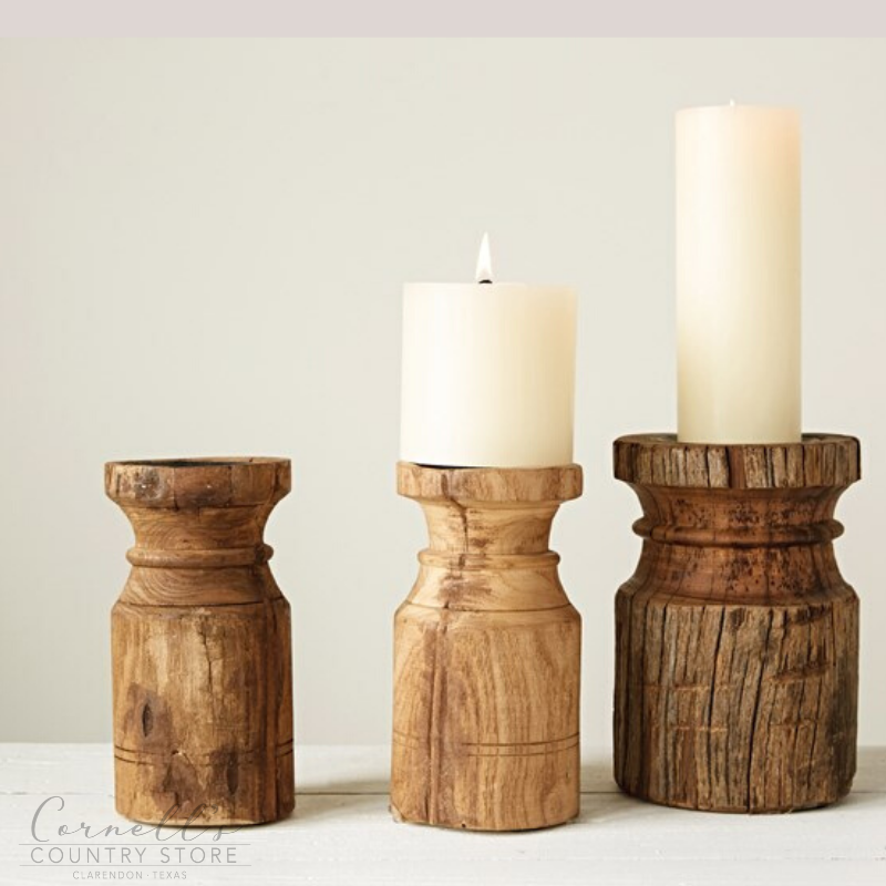 Round Wood Carved Pillar Candle Holder | Cornell's Country Store