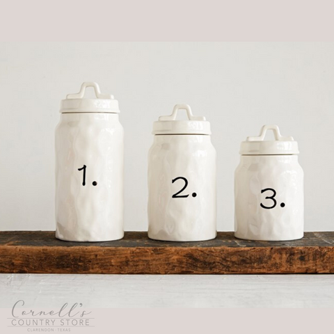 Ceramic Number Canisters, Set of 3 | Cornell's Country Store