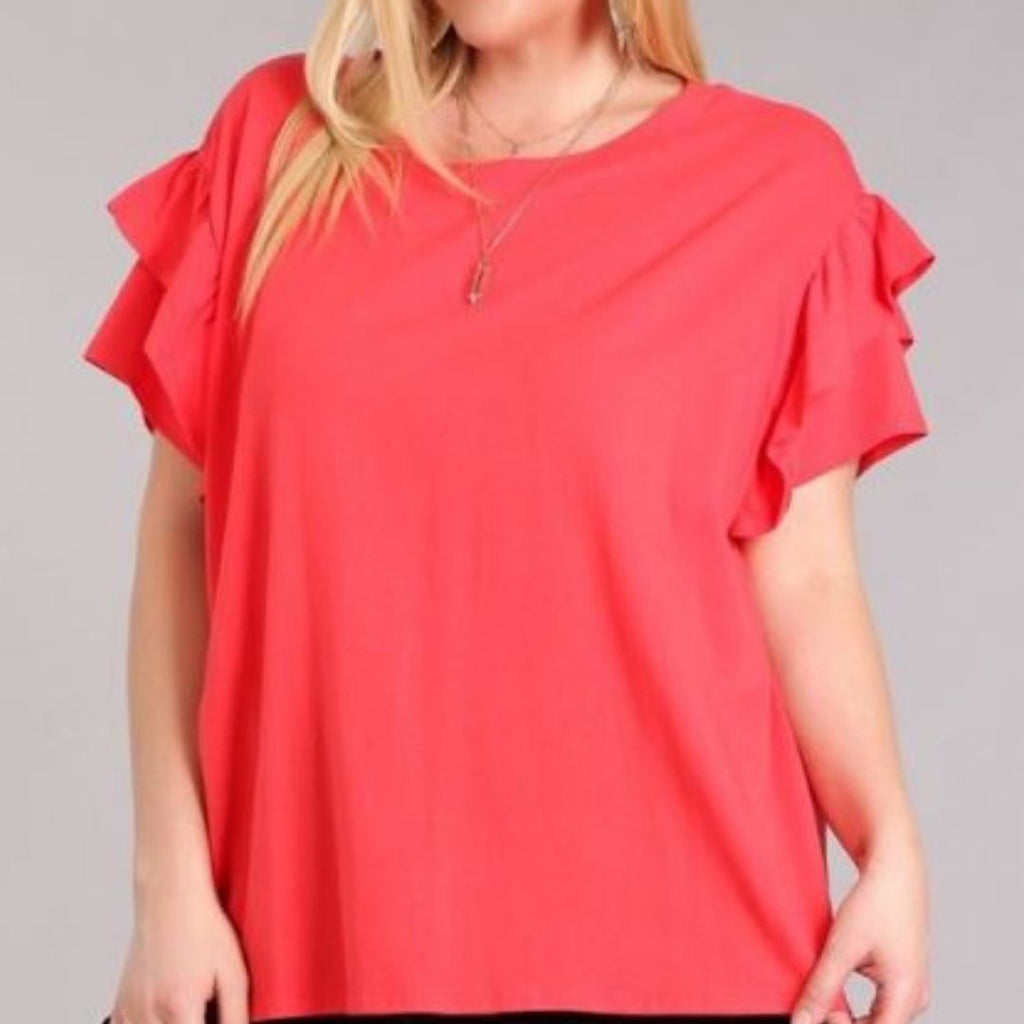 Red Ruffle Sleeve Top | Cornell's Country Store