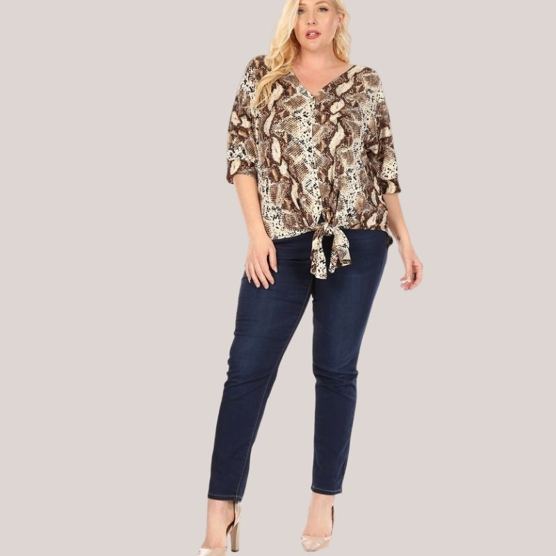 Snakeprint Tie Front Top | Cornell's Country Store