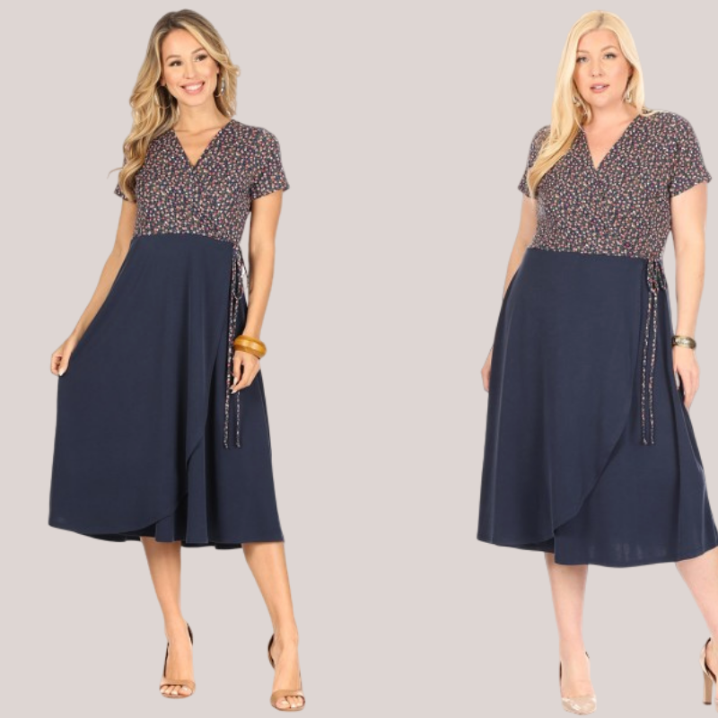 Dainty Floral Print Dress With Navy Skirt | Cornell's Country Store