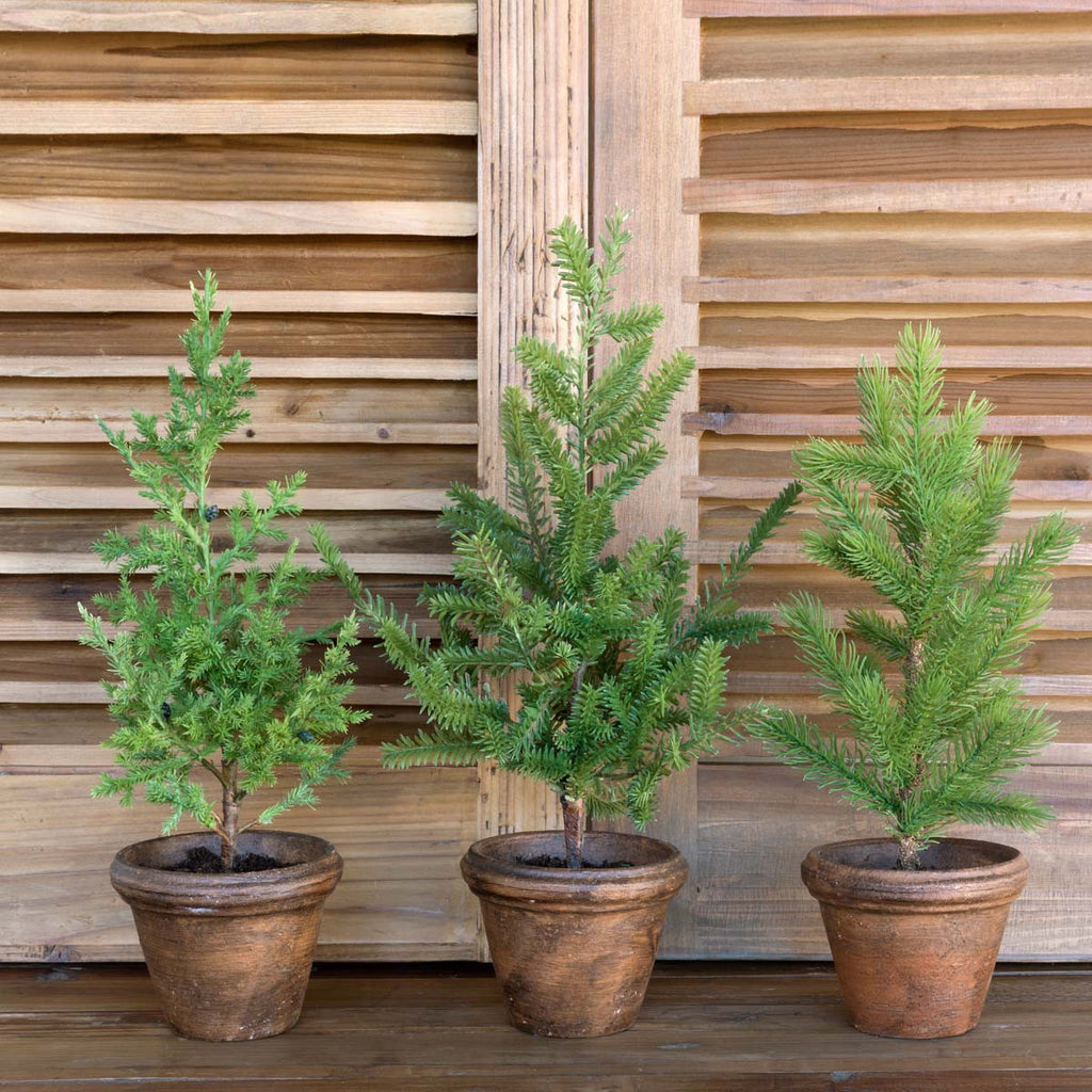 Faux Potted Little Christmas Trees