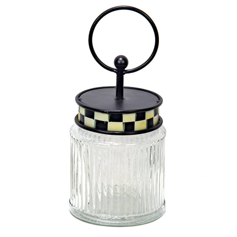 Buffalo Check Round Glass Jar