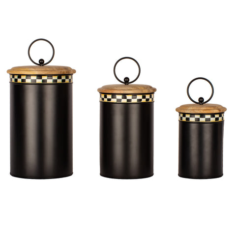 Buffalo Check Canister w/ Finial Holder