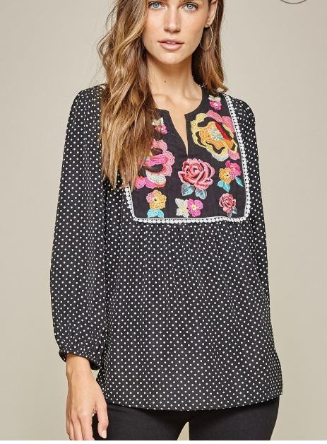 Polka Dot Love Embroidered Top