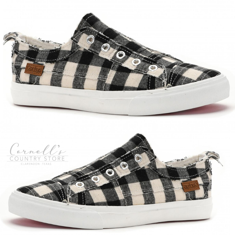 Corkys Footwear Babalu Black Plaid Sneakers | Cornell's Country Store