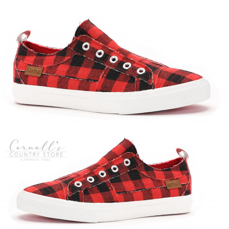 Corkys Footwear Babalu Red Plaid Sneakers | Cornell's Country Store