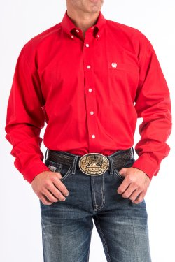 Men's Solid Cinch Button Down Western Shirt Red