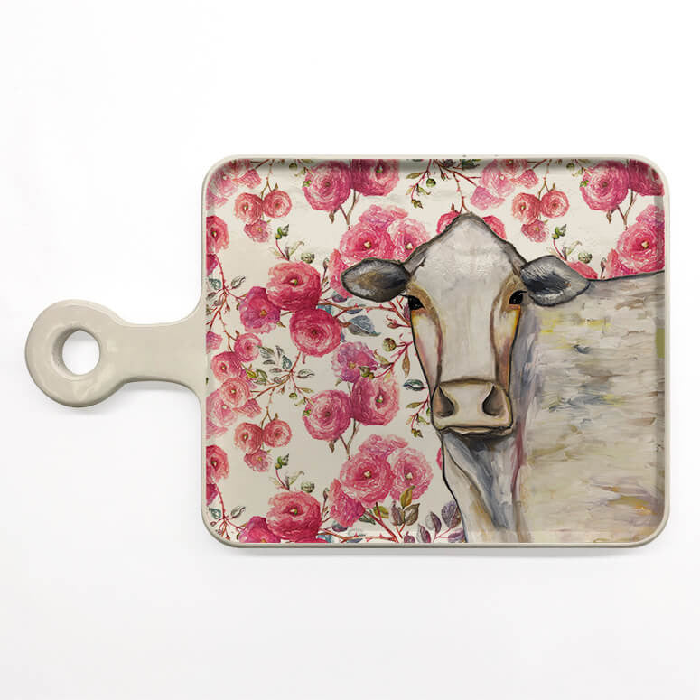 Floral Cow Serveware Cheese Board by Eli Halpin