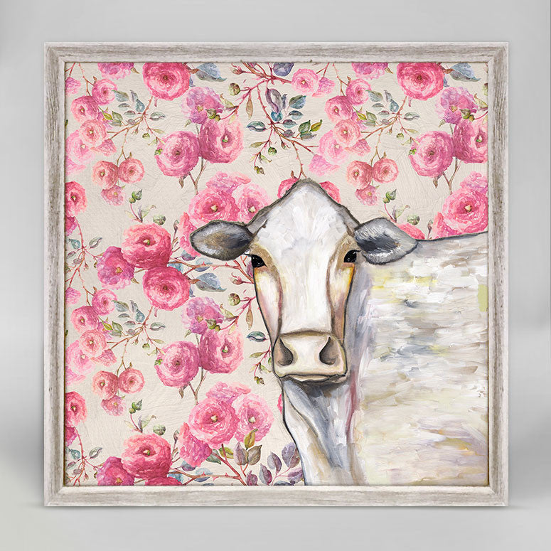 Cow - Floral Mini Framed Canvas by Eli Halpin
