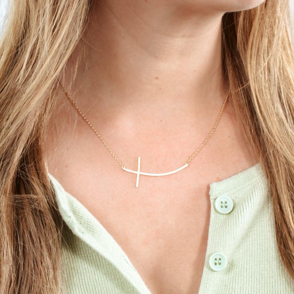 Ciara Curved Cross Necklace Gold or Silver | Cornell's Country Store