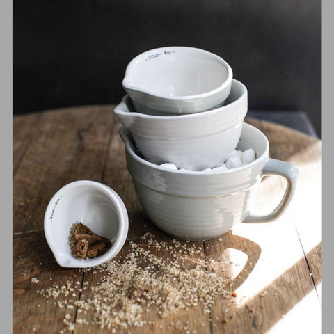 Gray Stoneware Batterbowl Measuring Cups