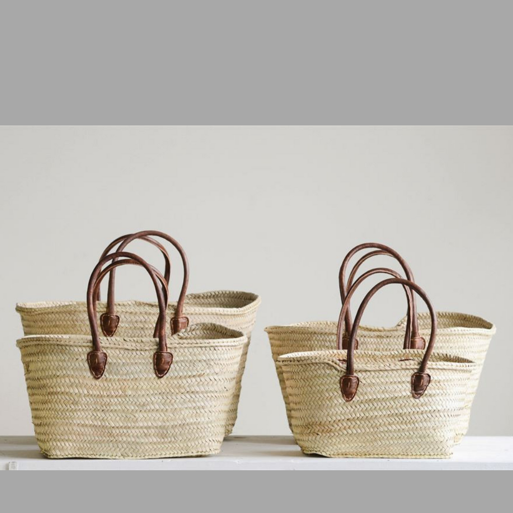 Hand Woven Moroccan Baskets With Leather Handles