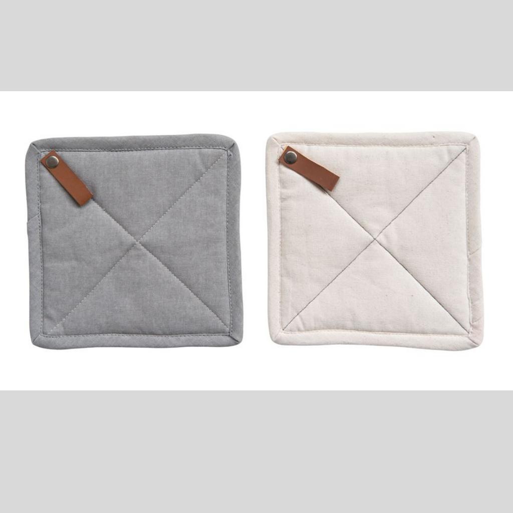"8"" Square Cotton Pot Holder w/ Leather Loops"