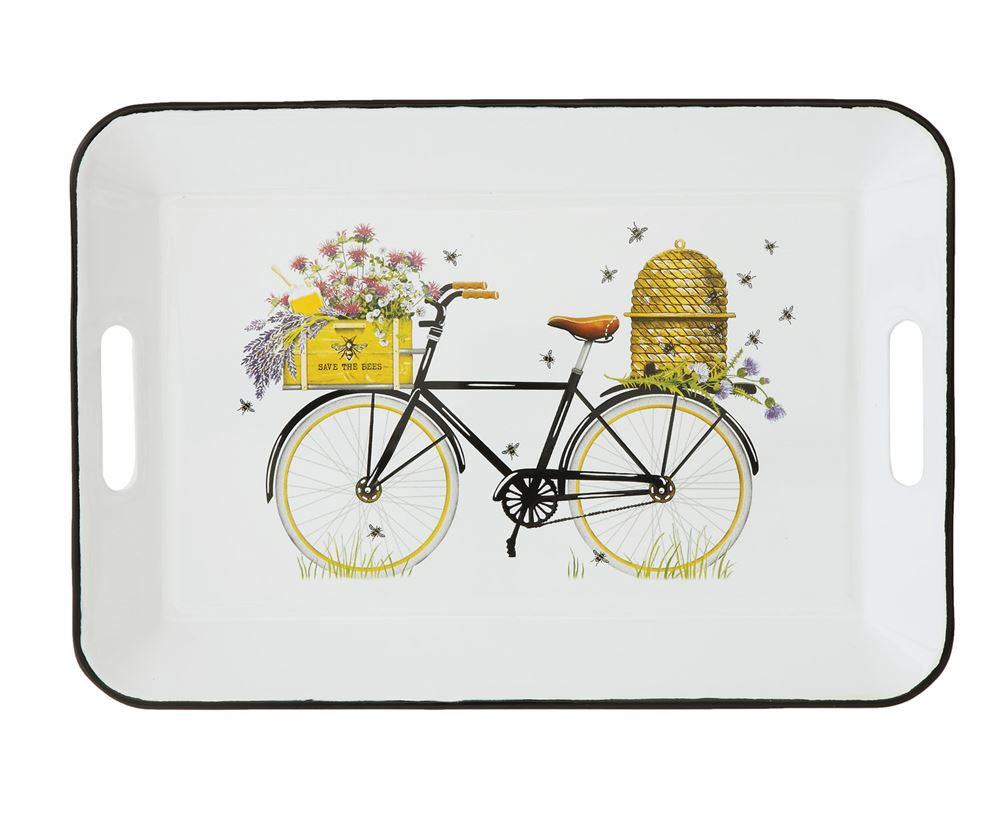 Beehive On A Bicycle Enameled Tray