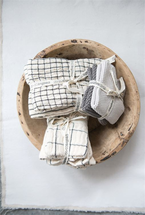 "18"" Square Woven Cotton Napkins w/ Plaid & Stripes, Natural, Set of 4"