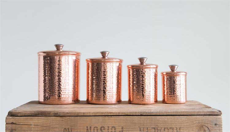 Hammered Stainless Steel Canisters w/ Copper Finish
