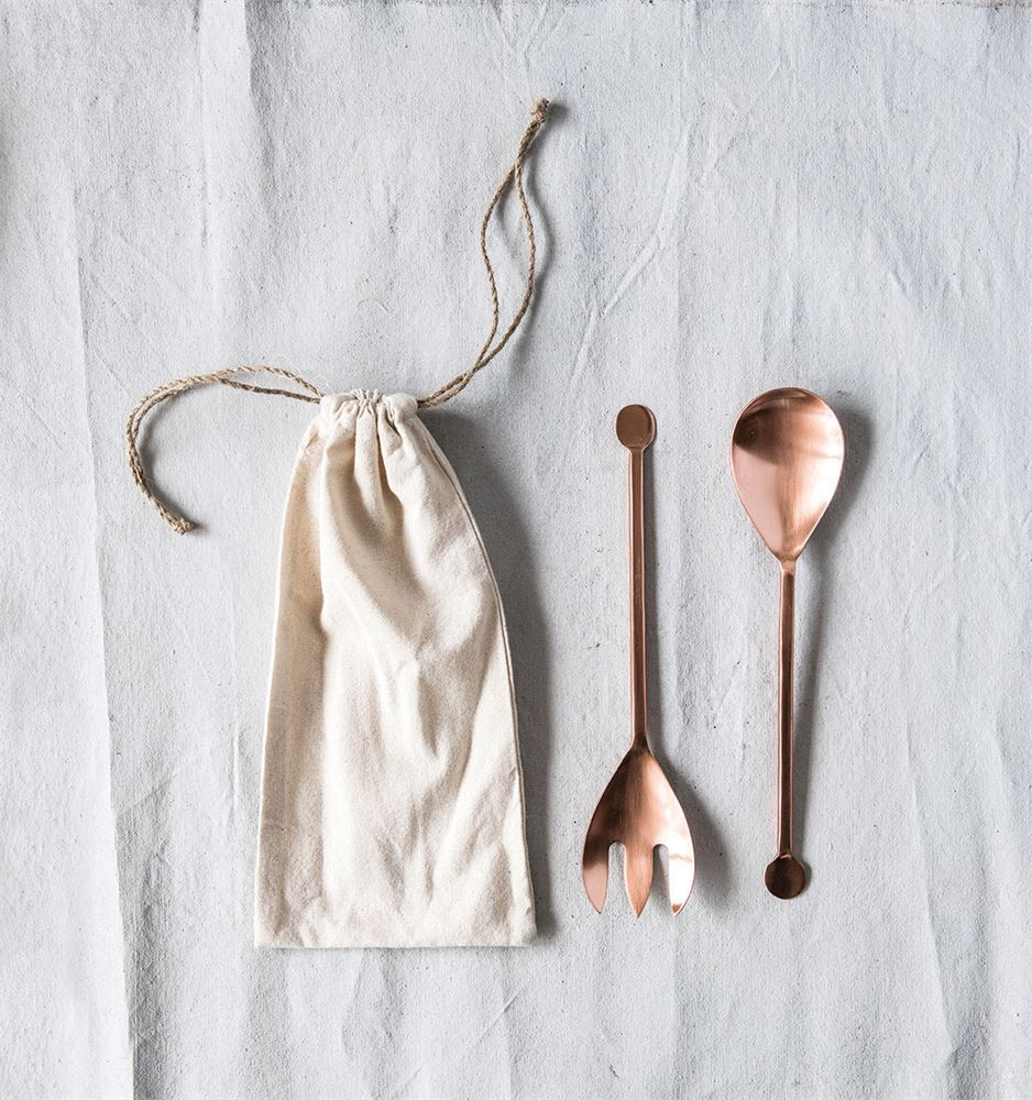 Copper Finish Salad Servers