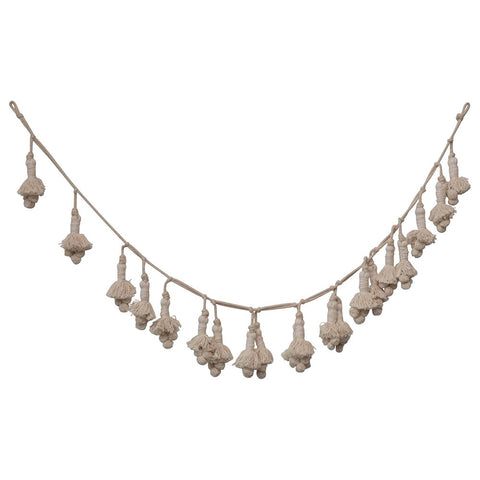 "72""L Hand-Woven Cotton Tassel Garland, Cream Color"