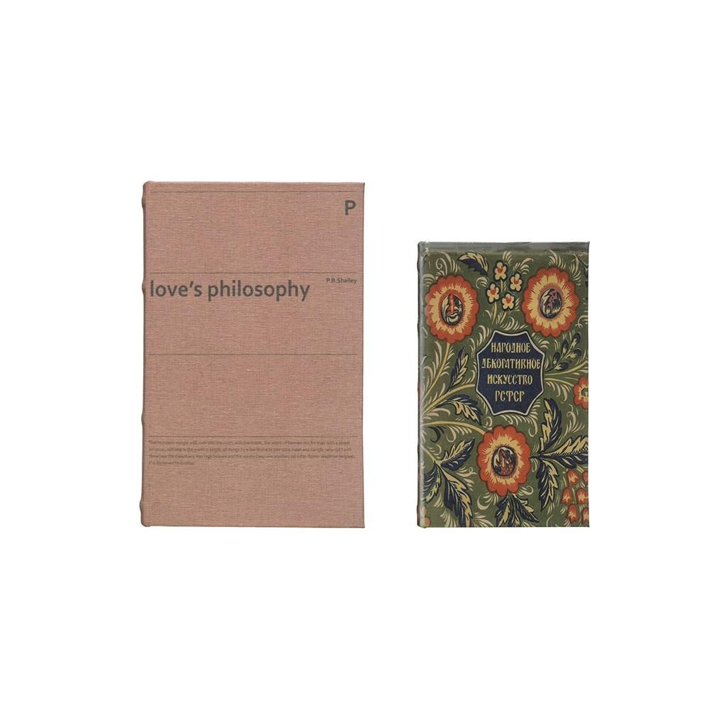 "Book Storage Boxes, Set of 2 ""Love's Philosophy"" 
