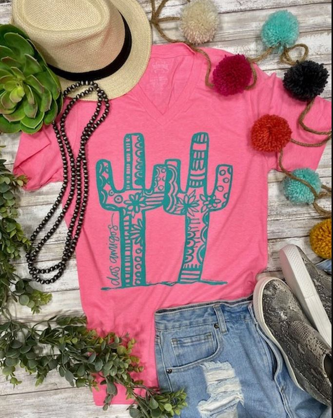 Dos Amigos Neon Pink Graphic Tee |  Cornell's Country Store