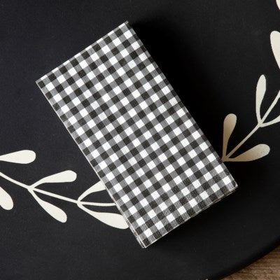 Black & White Gingham Check Paper Napkins