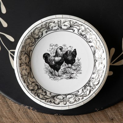 Black & White Farmhouse Paper Dinner Plates