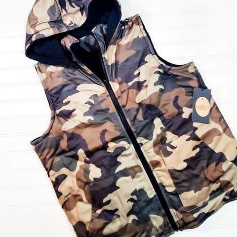 Camo & Black Reversible Quilted Puffer Vest