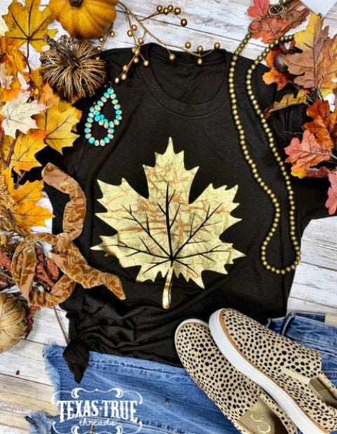 Fall Foil Leaf Tee Shirt