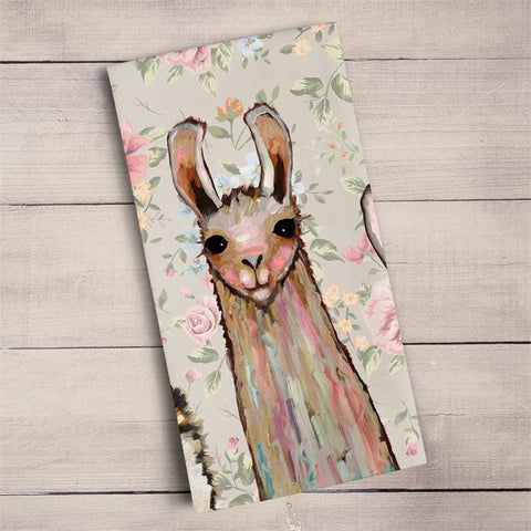 Baby Llama And Friends Tea Towel by Eli Halpin