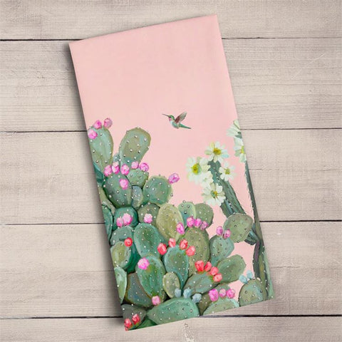 Cacti Garden Tea Towel by Cathy Walters