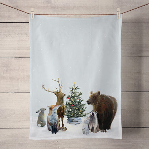 Christmas Carolers Holiday Tea Towel
