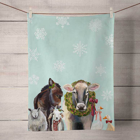 Festive Cow Holiday Tea Towel