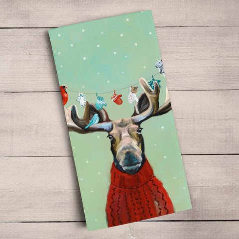 Moose in a Sweater Holiday Tea Towel