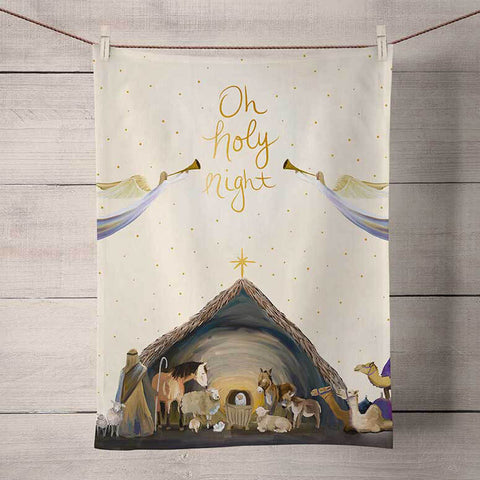 Nativity Manger Holiday Tea Towel