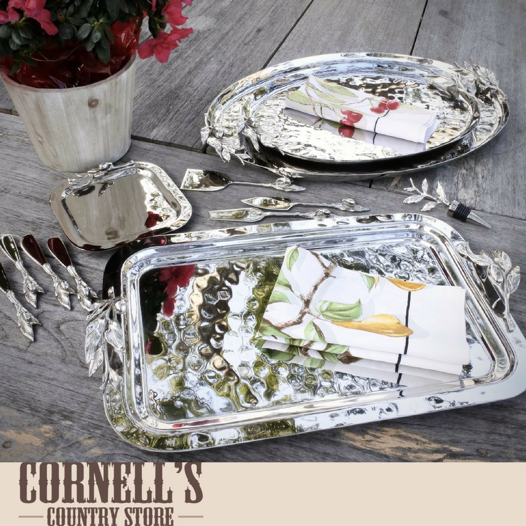 Oliveira Large Oval Stainless Steel Tray | Cornell's Country Store