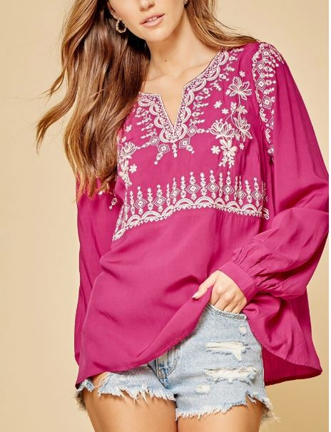 Hot Pink Embroidered Top | Cornell's Country Store