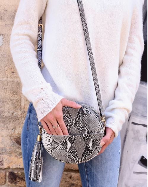 Richmond Round Snakeprint Crossbody Purse with Tassel