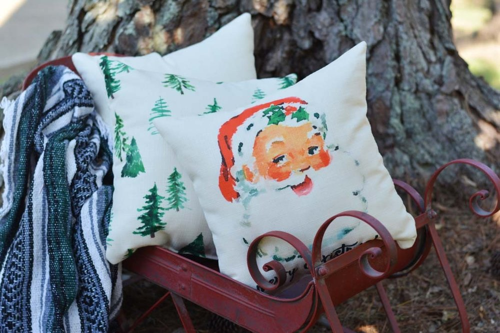 Vintage Santa Pillows With Red Piping Trim