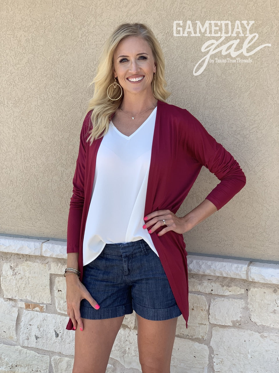 Solid Crimson Cardigan | Cornell's Country Store