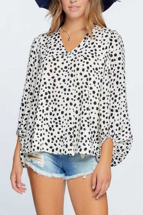 V Neck Puff Sleeve Top - Off White / Black
