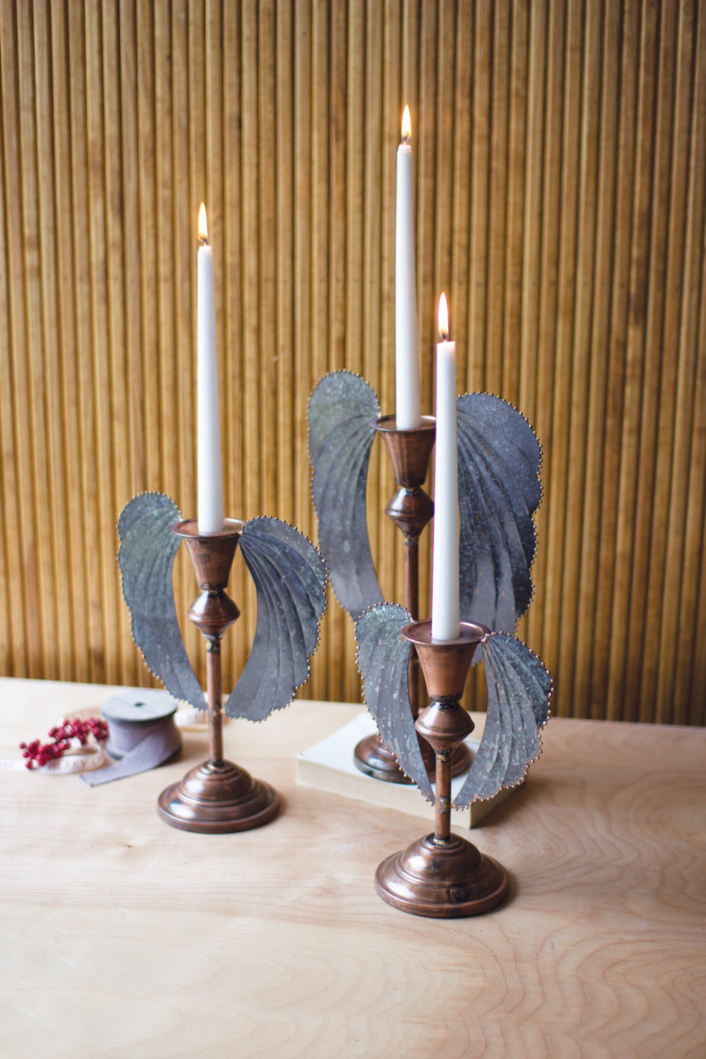 Set of Three Metal Angel Wing Taper Candle Holders