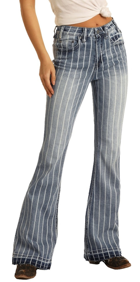 Striped High Rise Trouser Extra Stretch Jeans