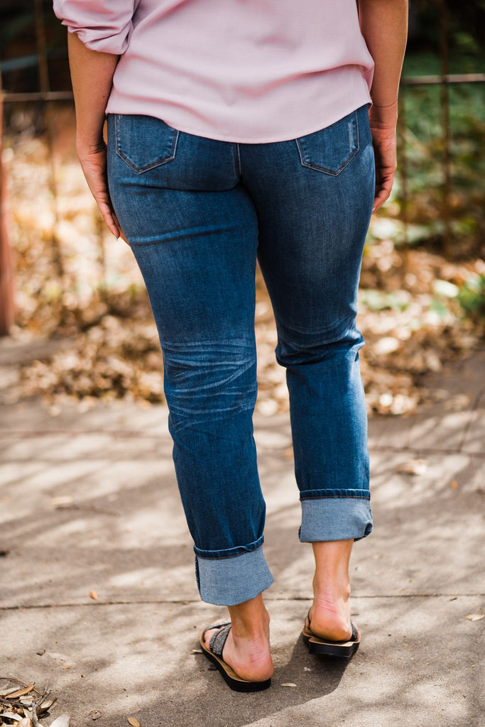 L & B Mid Wash Distressed Boyfriend Jeans | Cornell's Country Store